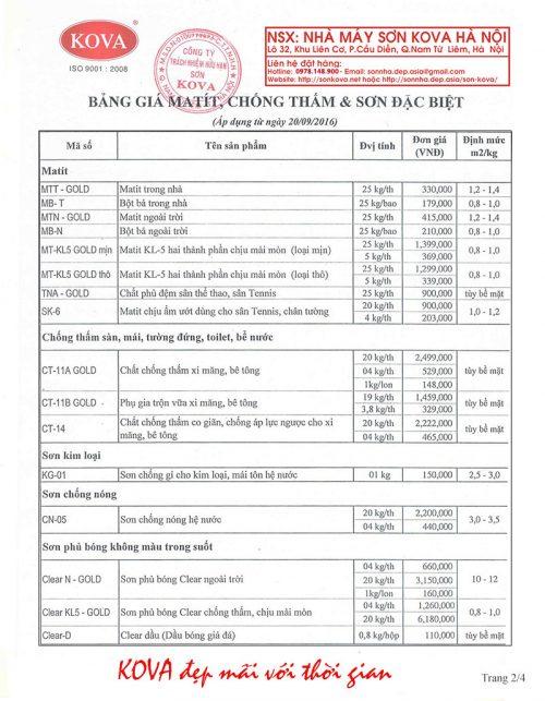 Bảng giá sơn Kova nhà máy Hà Nội mới nhất năm 2016 2/4