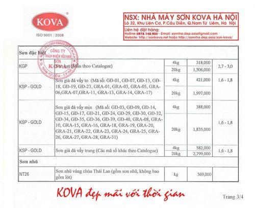Bảng giá sơn Kova nhà máy Hà Nội mới nhất năm 2016 3/4
