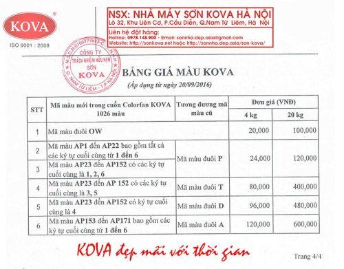 Bảng giá sơn Kova nhà máy Hà Nội mới nhất năm 2016 4/4